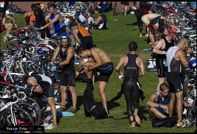 Triathlon competitors changing gears