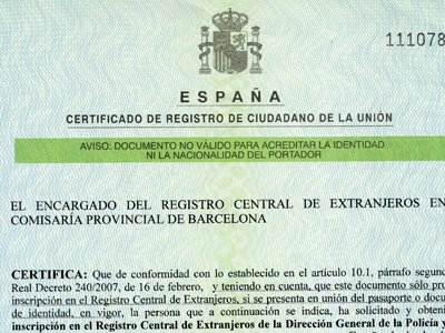 Residency certificate (NIE) home
