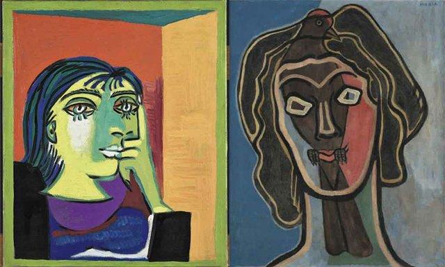 Pablo Picasso, Portrait of Dora Maar, 1937. Musée National Picasso-Paris. © Estate of Pablo Picasso, VEGAP, Madrid, 2018  Francis Picabia, Habia II, c. 1938 and c. 1945. Ursula Hauser Collection, Switzerland. © Francis Picabia, VEGAP, Madrid, 2018