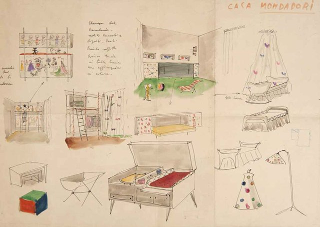 Lina-Bo-and-Carlo-Pagani,-Child's-Room-Furniture-Study-for-Mondadori-Residence,-1945---2.jpg