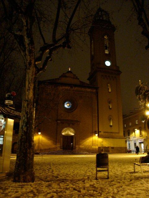 Barcelona square in the snow