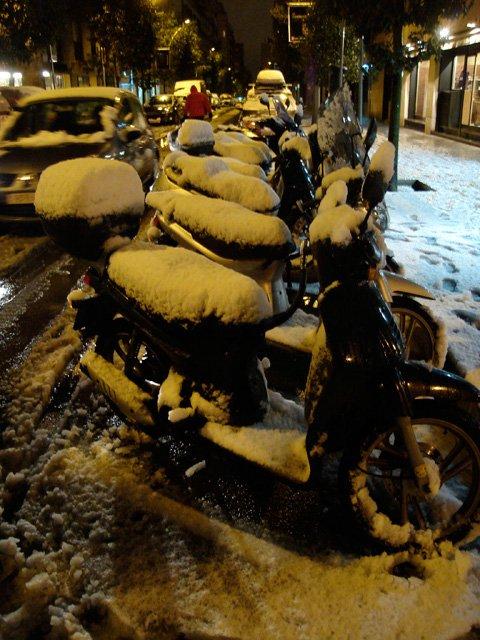 Motos under the snow