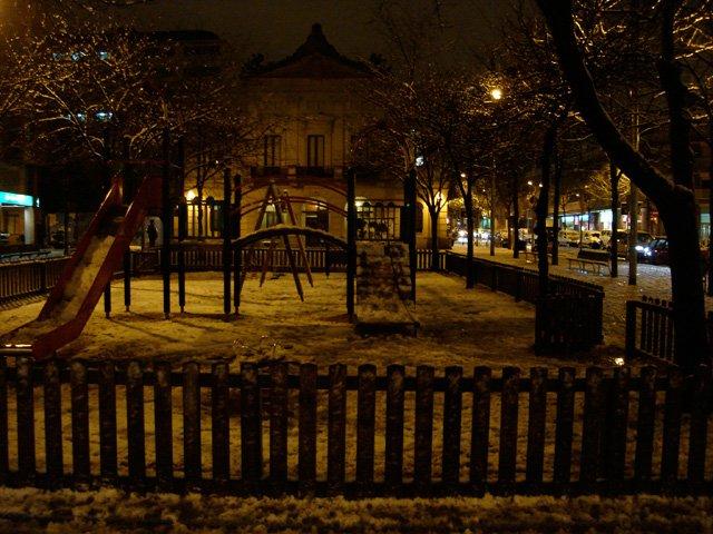 Children's playground in the snow