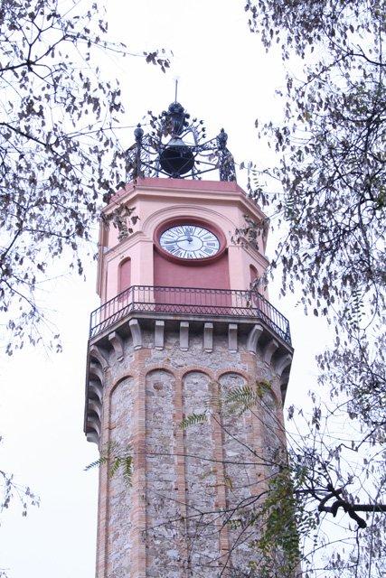 Clock tower in Plaça de la Vila de Gràcia