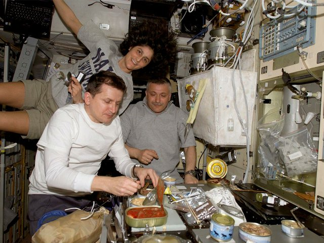 Cewmembers-onboard-the-International-Space-Station-share-a-meal-at-the-galley-in-the-Zvezda-Service-Module-Charles-Simonyi,-Sunita-L-Williams,-Fyodor-N-Yurchikhin--(CC-BY-NC-2.0).jpg