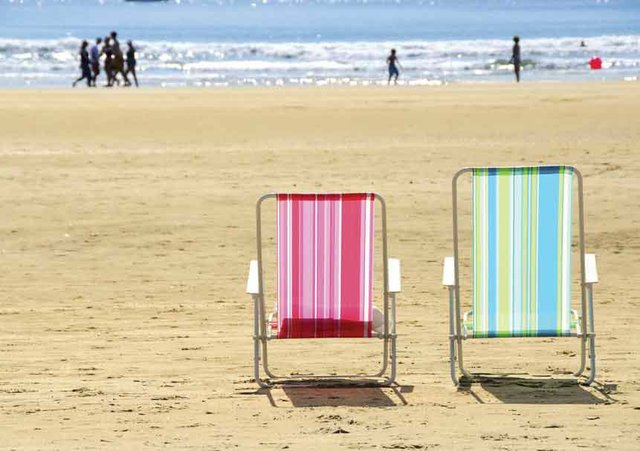 Beach deckchairs