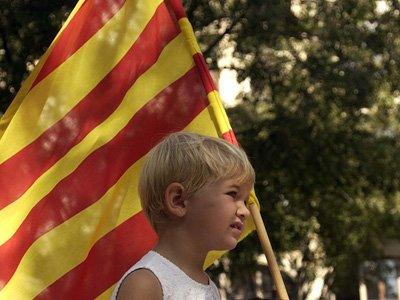 Child catalan flag