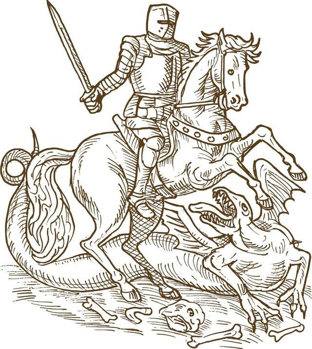 Sant Jordi slaying the dragon